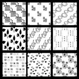 Collection with hand-drawn black-white seamless patterns. EPS 10 Vector Illustration