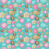 Collection of hand drawn buttons on turquoise background. Watercolor Seamless pattern Hobby Knitting, Crocheting and