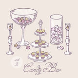 Collection of hand drawn candy bar objects. Bakery Royalty Free Stock Photography