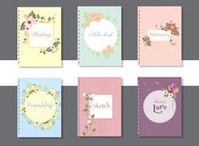 Collection of hand drawn cards,book and invitations Royalty Free Stock Photos