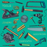 Collection of hand drawn Carpentry, woodworker Stock Images