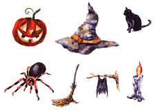 Collection of hand drawn Characters halloween Royalty Free Stock Photography