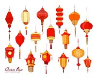 Collection of hand drawn Chinese red paper street lanterns of various shapes stock illustration