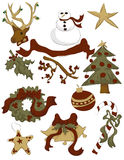 Collection of hand drawn Christmas items Stock Photos
