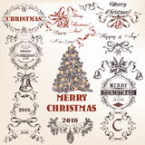 Collection of hand drawn Christmas and New Year frames in Victor. Christmas collection or set of vector decorative frames and Xmas decoration for design in Royalty Free Stock Photos