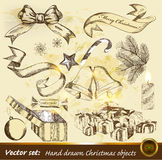 Collection of hand drawn Christmas objects Stock Images