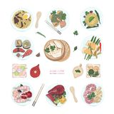 Collection of hand drawn colorful dishes of Asian cuisine  on white background. Delicious meals and snacks. Traditional food of Asia - ramen noodles, dumplings Royalty Free Stock Photos