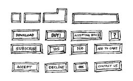 Collection of hand drawn computer keys Royalty Free Stock Images