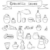 Collection of hand-drawn cosmetic containers Stock Photography