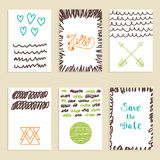 Collection of hand drawn creative journaling cards. Patterns for. Placards, posters, flyers and banner designs. Modern hipster style. Trendy posters with hand vector illustration