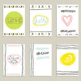 Collection of hand drawn creative journaling cards Royalty Free Stock Images