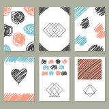 Collection of hand drawn creative journaling cards.  Royalty Free Stock Photo