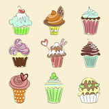 Collection of Hand drawn cupcakes royalty free illustration