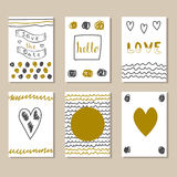 Collection of hand drawn cute cards and invitations Stock Photos