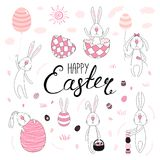 Cute Easter bunnies collection