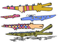 Collection of hand drawn cute doodle crocodiles Stock Images
