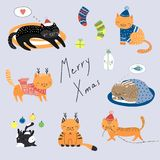 Cute Christmas cats collection. Collection of hand drawn cute funny cartoon cats in hats, with deer antlers, presents, typography. Isolated flat objects. Vector Royalty Free Stock Photos