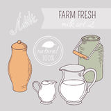 Collection of hand drawn dairy farm objects Stock Image
