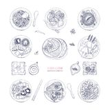 Collection of hand drawn dishes of Asian cuisine  on white background. Delicious meals and snacks, traditional. Food of Asia - ramen noodles, dumplings, sushi Royalty Free Stock Photo