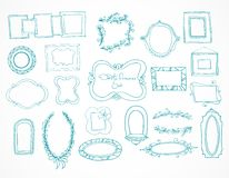 Collection of hand drawn doodle frames Stock Images