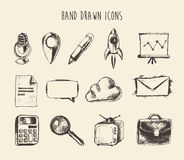 Collection Hand Drawn Doodle Network Icons Sketch Royalty Free Stock Image