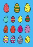 Collection of hand drawn doodle style Easter eggs,. Collection of hand drawn doodle style Easter eggs. Sketch set vector illustration