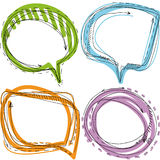 Collection of Hand Drawn Doodle Style Speech Bubbles on white background Stock Photography