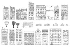 Collection of hand drawn European style houses. Different hand drawn houses, cars, trees, bus and hot air balloon Stock Illustration