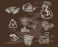 Collection of hand-drawn finance on blackboard. Retro vintage style . Vector eps10 Stock Photo