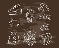 Collection of hand-drawn finance on blackboard. Retro vintage style . Vector eps10 Stock Images