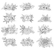 Collection of hand drawn floral compositions Stock Image