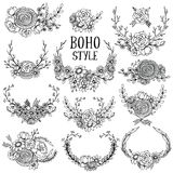 Collection of  hand drawn floral elements in boho style Stock Images