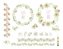 Collection of hand drawn flowers. Elements for your design.  Vector illustration. Royalty Free Stock Images
