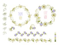 Collection of hand drawn flowers. Elements for your design.  Vector illustration. Stock Photos