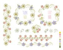 Collection of hand drawn flowers. Elements for your design.  Vector illustration. Royalty Free Stock Photo
