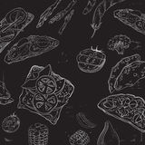 Collection of hand-drawn food on blackboard. Organic restaurant background template on chalkboard. Royalty Free Stock Images