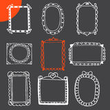 Collection of hand drawn frames. Cute photo frames Stock Photo