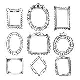 Collection of hand drawn frames. Vintage photo frames Royalty Free Stock Photos
