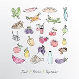 Collection of hand drawn  fruits and vegetables. Stock Photos