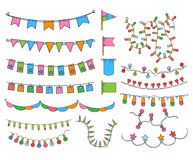 Collection Of Hand Drawn Garlands Stock Photography
