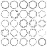 Collection hand drawn  graphic floral wreaths. Vector illustration, isolated on white background Stock Photo