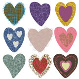 Collection of hand-drawn hearts Stock Images