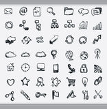 Collection of hand drawn icons. Representing a diversity of topics including communication, graphs, weather and business sketched in ink on white paper stock illustration