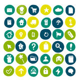 Collection of hand drawn icons on colored circles. Doodle web icon set Royalty Free Stock Photos