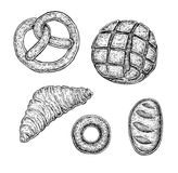 Collection of hand drawn ink bakery sketches Royalty Free Stock Photos