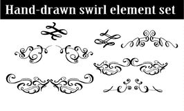 Collection of hand drawn ink curls Stock Images