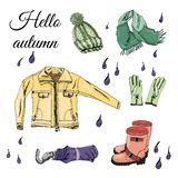 Collection with hand drawn of items of autumn clothes and drops. Ink and colored sketch elements  isolated on white background. Vector illustration vector illustration