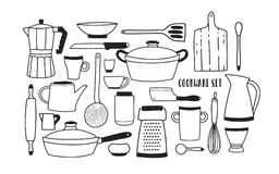Collection of hand drawn kitchen utensils and tools for cooking against white background. Set of cartoon monochrome. Cookware. Vector illustration in trendy Royalty Free Stock Photos