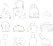 Collection of hand drawn l bags Royalty Free Stock Images
