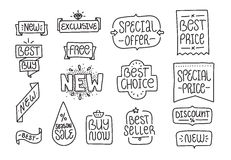 Collection of  hand drawn lettering badges and Stock Images